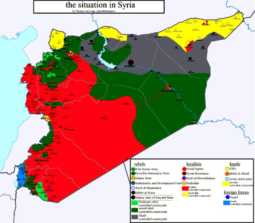 Σ' έναν χάρτη, η πολυπλοκότητα της κατάστασης στη Συρία!