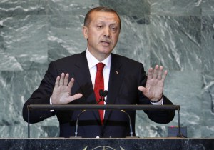 Turkish Prime Minister Tayyip Erdogan addresses the 66th United Nations General Assembly at U.N. headquarters, in New York, September 22, 2011. REUTERS/Chip East (UNITED STATES - Tags: POLITICS) - RTR2ROWK