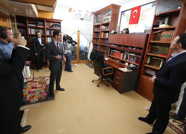 Mr Gulen's study: From here he manages a big network of followers