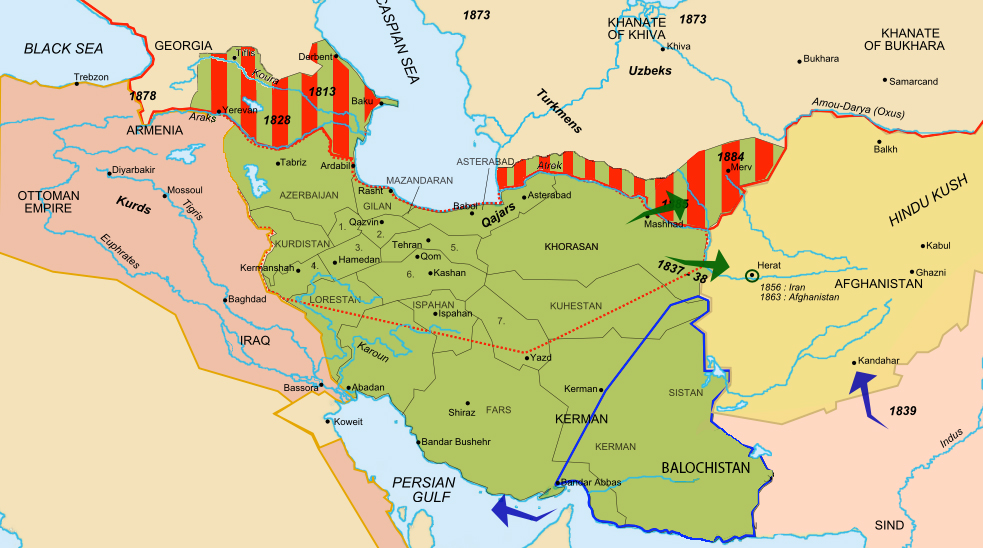 How Iran's borders changed in the early 1900s